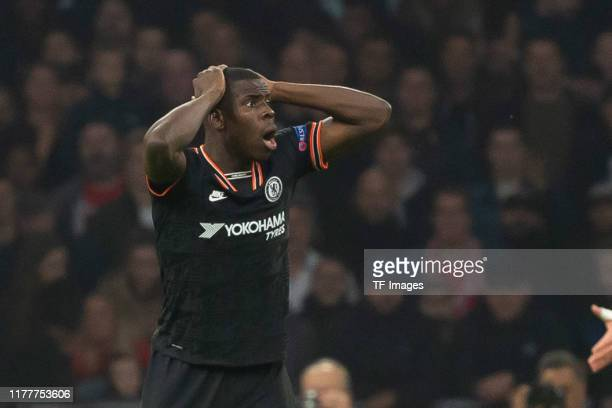 Kurt Zouma of FC Chelsea looks dejected during the UEFA Champions League group H match between AFC Ajax and Chelsea FC at Amsterdam Arena on October...