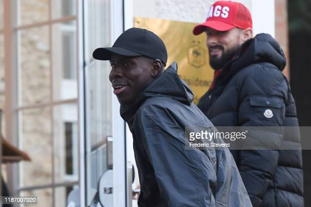 Kurt Zouma of France arrives ahead of a training session on November 11 2019 in Clairefontaine France France will play against Moldova in their UEFA...