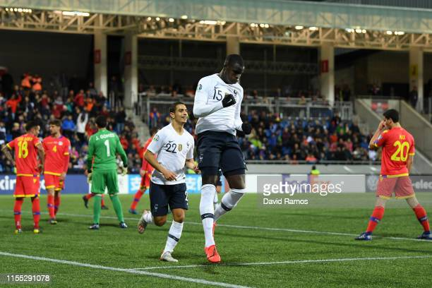 Kurt Zouma of France celebrates after scoring his team's fourth goal during the UEFA Euro 2020 Qualification match between Andorra and France on June...
