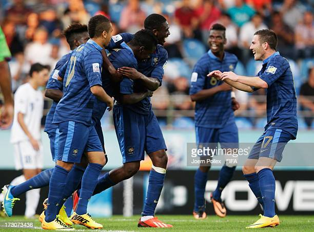Kurt Zouma of France celebrates with his team mates after scoring his team's fourth goal during the FIFA U20 World Cup Quarter Final match between...