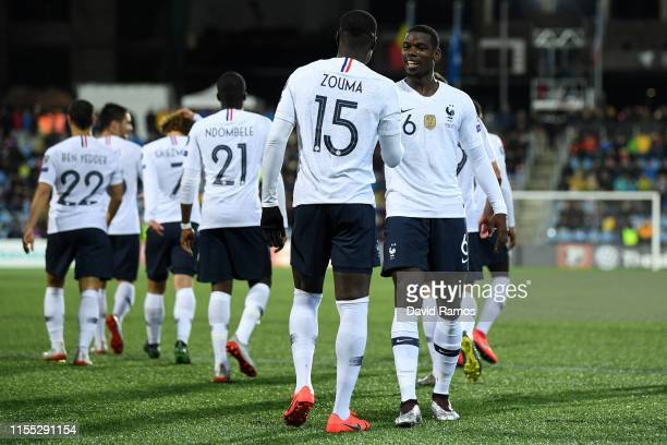 Kurt Zouma of France celebrates with teammates after scoring his team's fourth goal during the UEFA Euro 2020 Qualification match between Andorra and...