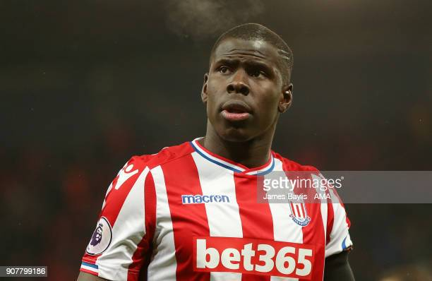Kurt Zouma of Stoke City during the Premier League match between Stoke City and Huddersfield Town at Bet365 Stadium on January 20 2018 in Stoke on...
