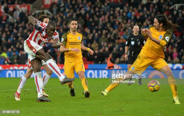 Kurt Zouma of Stoke City has a shot on goal in the final moments of the game during the Premier League match between Stoke City and Brighton and Hove...