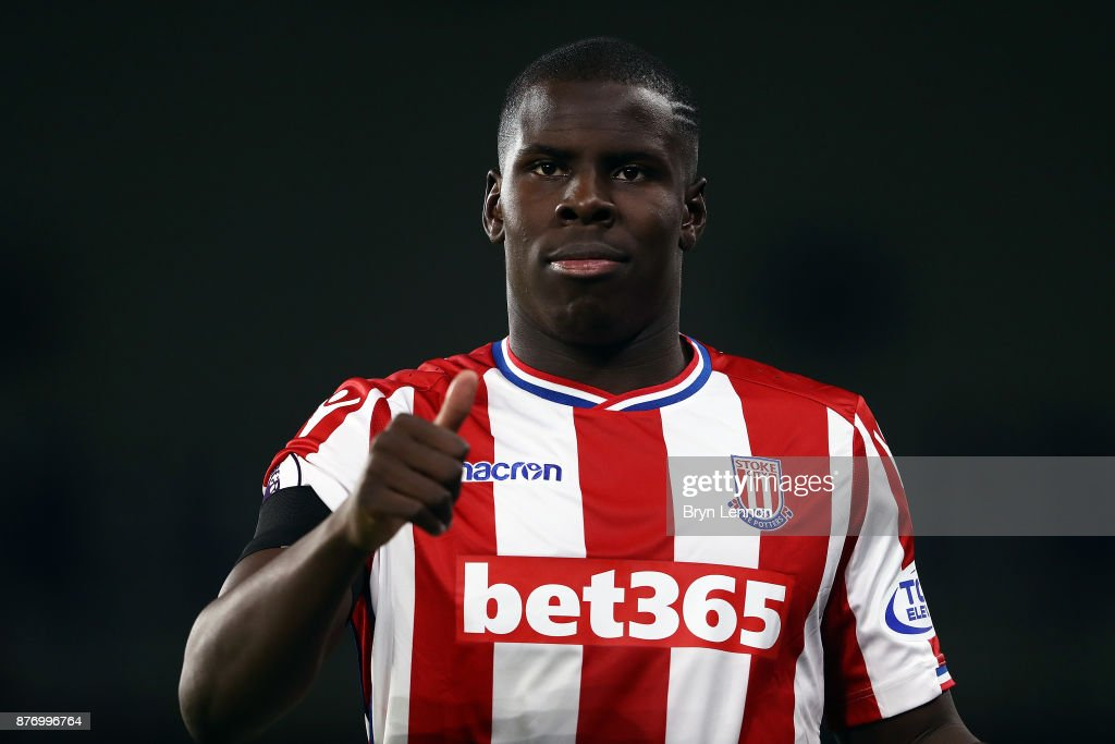 Kurt Zouma of Stoke City looks on during the Premier League match between Brighton and Hove Albion and Stoke City at Amex Stadium on November 20, 2017 in Brighton, England.