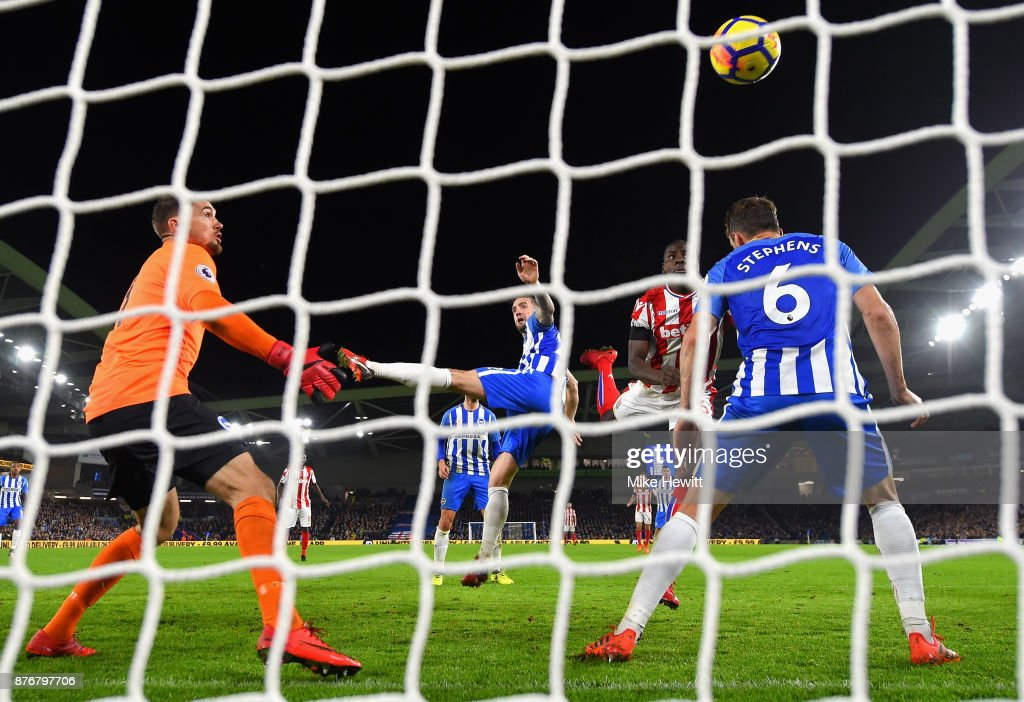 Kurt Zouma of Stoke City scoeres his sides second goal during the Premier League match between Brighton and Hove Albion and Stoke City at Amex Stadium on November 20, 2017 in Brighton, England.