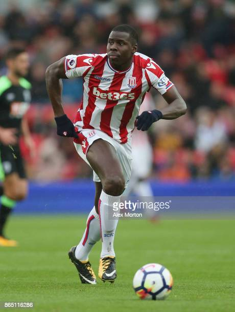 Kurt Zouma of Stoke during the Premier League match between Stoke City and AFC Bournemouth at Bet365 Stadium on October 21 2017 in Stoke on Trent...