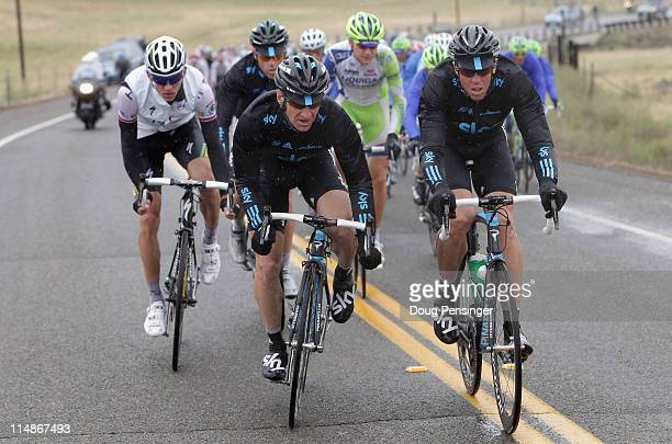 KurtAsle Arvesen of Norway and teammate Ian Stannard of Great Britain riding for Sky Procycling drive the peloton during stage three of the 2011...