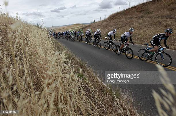 KurtAsle Arvesen of Norway riding for Sky Procycling leads the peloton as they roll through the countryside during stage three of the 2011 AMGEN Tour...