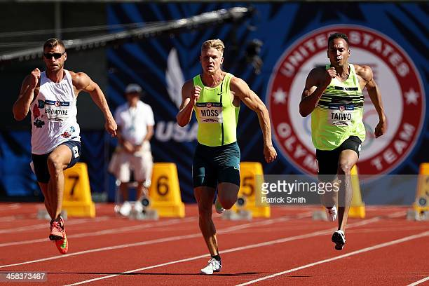 Kurtis Brondyke Miller Moss and Jeremy Taiwo run in the Men's 100m Decathalon during the 2016 US Olympic Track Field Team Trials at Hayward Field on...