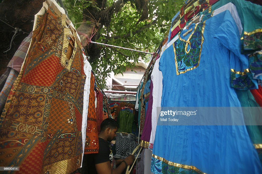 Kurtis can be seen displayed at the Janpath stalls in New Delhi on April 21, 2010.