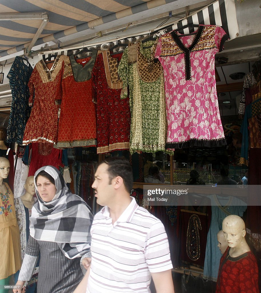 Kurtis can be seen displayed at the Lajpat Nagar market in New Delhi on April 21, 2010.