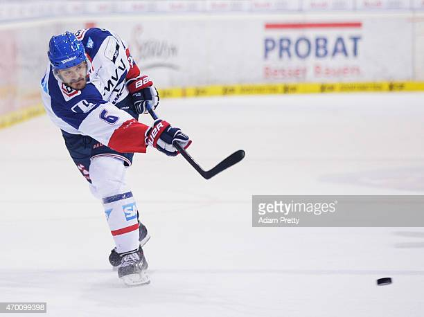 Kurtis Foster of Adler Mannheim scores the second goal during the DEL Play off match Final Game Four between ERC Ingolstadt and Adler Mannheim at the...