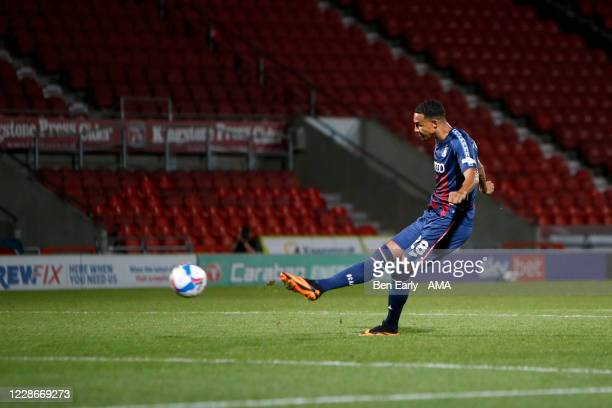 Kurtis Guthrie of Bradford City takes his penalty during the EFL Trophy match between Doncaster Rovers v Bradford City at Keepmoat Stadium on...