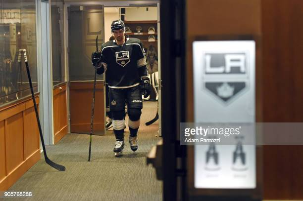 Kurtis MacDermid of the Los Angeles Kings heads to the ice before a game against the San Jose Sharks at STAPLES Center on January 15 2018 in Los...