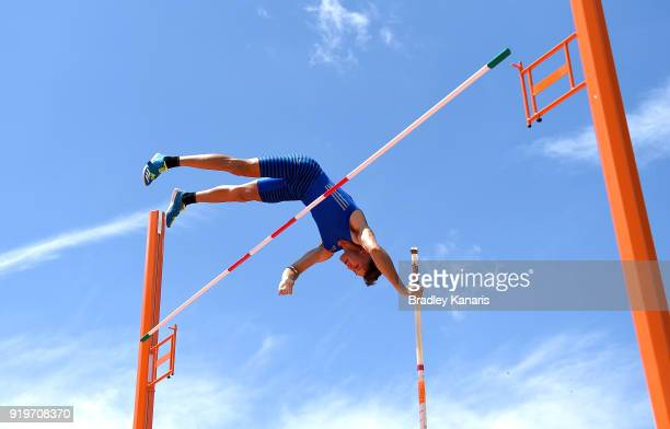 Kurtis Marschall competes in the final of the Men's pole vault event during the Australian Athletics Championships Nomination Trials at Carrara...