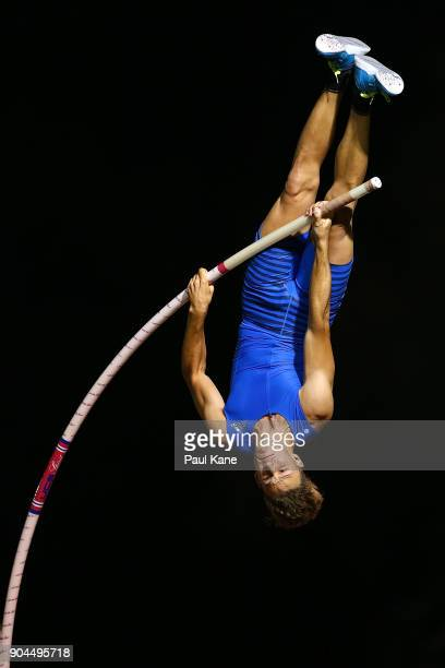 Kurtis Marschall competes in the men's pole vault during the Jandakot Airport Perth Track Classic at WA Athletics Stadium on January 13 2018 in Perth...