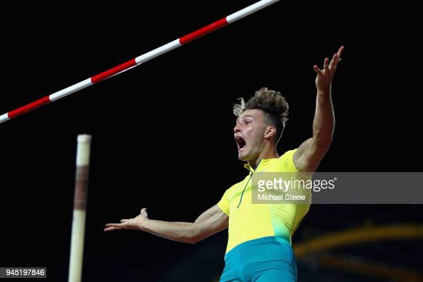Kurtis Marschall of Australia celebrates a clearance in the Men's Pole Vault final during athletics on day eight of the Gold Coast 2018 Commonwealth...