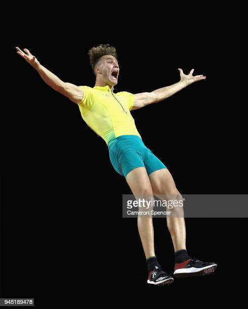 Kurtis Marschall of Australia celebrates as clearance in the Men's Pole Vault final during athletics on day eight of the Gold Coast 2018 Commonwealth...