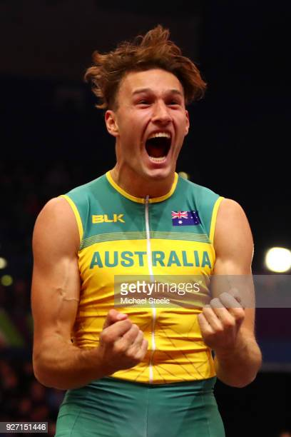 Kurtis Marschall of Australia celebrates in the Men's Pole Vault Final during the IAAF World Indoor Championships on Day Four at Arena Birmingham on...
