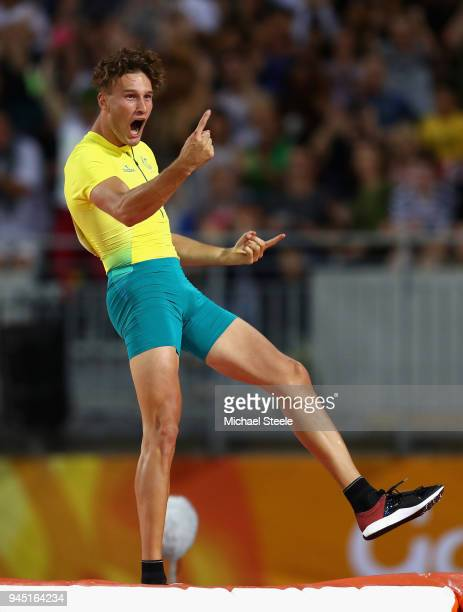 Kurtis Marschall of Australia celebrates in the Men's Pole Vault final during athletics on day eight of the Gold Coast 2018 Commonwealth Games at...