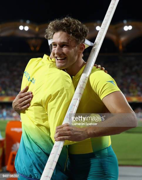 Kurtis Marschall of Australia celebrates winning gold in the Men's Pole Vault final during athletics on day eight of the Gold Coast 2018 Commonwealth...
