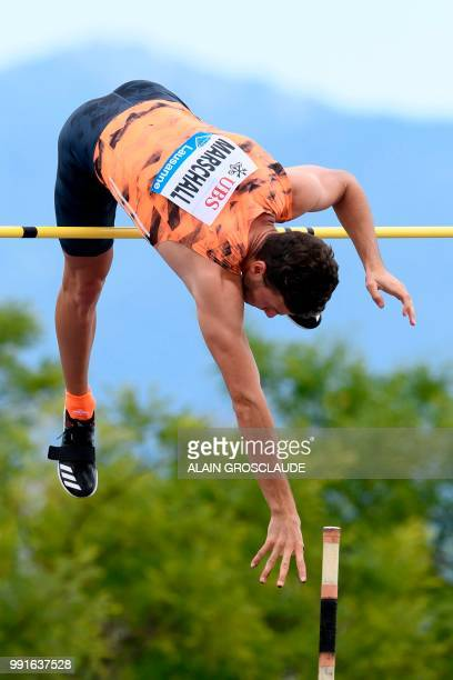 Kurtis Marschall of Australia competes in the men's pole vault event ahead of the IAAF Diamond League athletics meeting Athletissima in Lausanne on...
