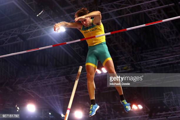 Kurtis Marschall of Australia competes in the Men's Pole Vault Final during the IAAF World Indoor Championships on Day Four at Arena Birmingham on...