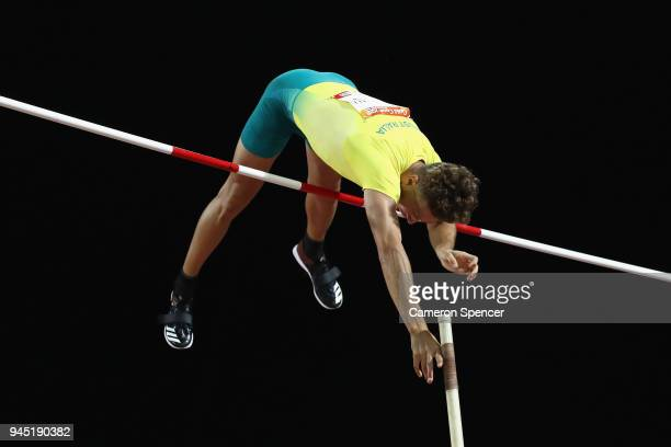 Kurtis Marschall of Australia competes in the Men's Pole Vault final during athletics on day eight of the Gold Coast 2018 Commonwealth Games at...