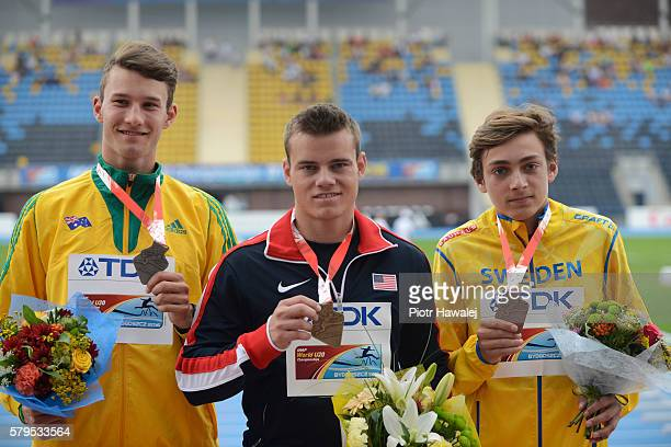 Kurtis Marschall of Australia Deakin Volz of USA and Armand Duplantis of Sweden on the podium after men's pole vault during the IAAF World U20...