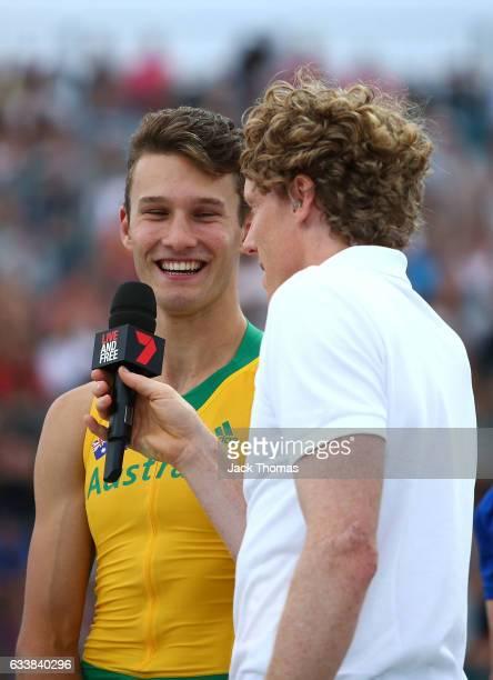 Kurtis Marschall of Australia is interviewed by Steve Hooker of Australia following the Men's Pole Vault during Nitro Athletics at Lakeside Stadium...