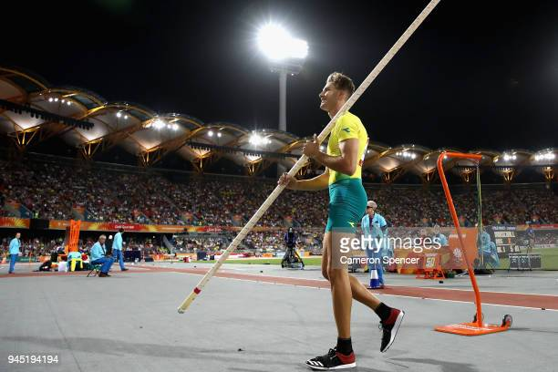 Kurtis Marschall of Australia looks on in the Men's Pole Vault final during athletics on day eight of the Gold Coast 2018 Commonwealth Games at...