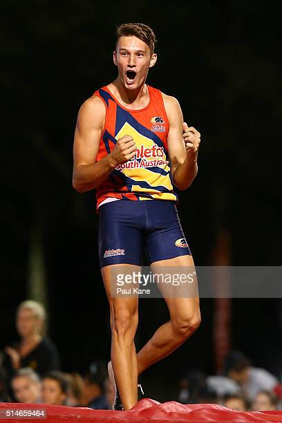 Kurtis Marschall of South Australia celebrates a clearance in the Men's Pole Vault u20 event during the Australian Junior Athletics Championships at...