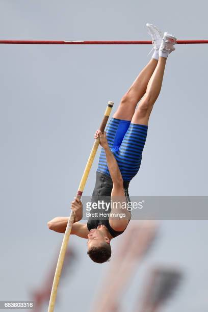 Kurtis Marschall of South Australia competes in his Open Mens Pole Vault event during day eight of the 2017 Australian Athletics Championships at...