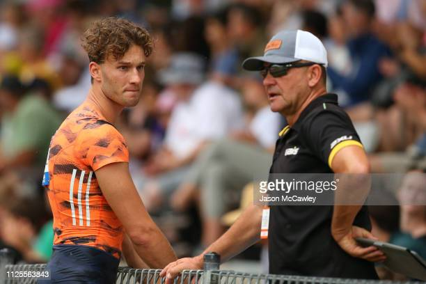 Kurtis Marschall of Western Australia speaks to his coach during the Mens Pole Vault during the Canberra Festival of Athletics on January 28 2019 in...