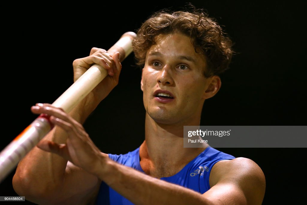 Kurtis Marschall prepares to vault in the men's pole vault during the Jandakot Airport Perth Track Classic at WA Athletics Stadium on January 13, 2018 in Perth, Australia.