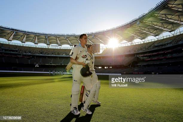 Kurtis Patterson and Nick Larkin of the Blues leave the fields the ball after play on Day two of the Sheffield Shield match between Western Australia...