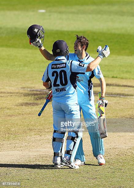 Kurtis Patterson and Peter Nevill of the Blues celebrate winning the Matador BBQs One Day Cup Final match between Queensland and New South Wales at...