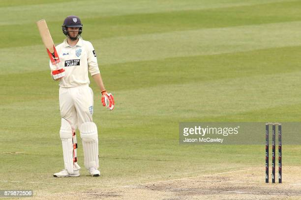 Kurtis Patterson of NSW celebrates after reaching his half century during day four of the Sheffield Shield match between New South Wales and Victoria...