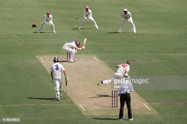 Kurtis Patterson of the Blues evades a bouncer during day one of the Sheffield Shield match between New South Wales and South Australia at Sydney...
