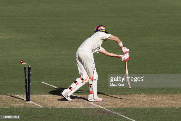 Kurtis Patterson of the Blues is bowled by Nick Winter of the Redbacks day one of the Sheffield Shield match between New South Wales and South...