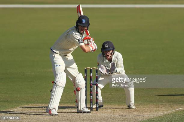 Kurtis Patterson of the NSW Blues bats during day one of the Sheffield Shield match between Victoria and New South Wales at Junction Oval on March 3...