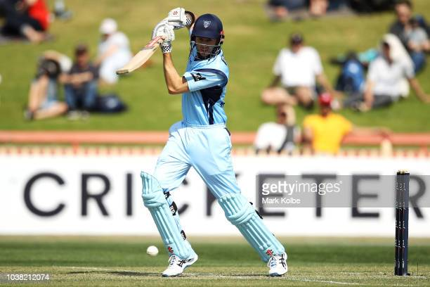 Kurtis Patterson of the NSW Blues bats during the JLT One Day Cup match between New South Wales and Victoria at North Sydney Oval on September 23...