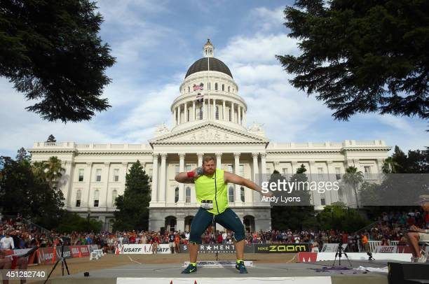 Kurtis Roberts prepares for a throw during the Men's Shot Put Final at the California State Capital on day one of the USATF Outdoor Championships on...