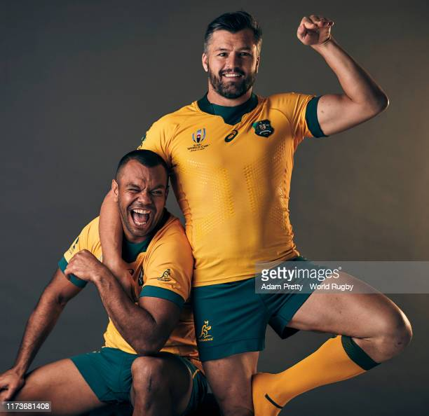 Kurtley Beale and Adam Ashley-Cooper of Australia pose for a portrait during the Australia Rugby World Cup 2019 squad photo call on September 10,...