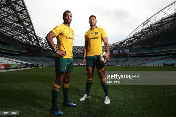 Kurtley Beale and Israel Folau pose during an Australian Wallabies Bledisloe Cup media opportunity at ANZ Stadium on August 16 2017 in Sydney...