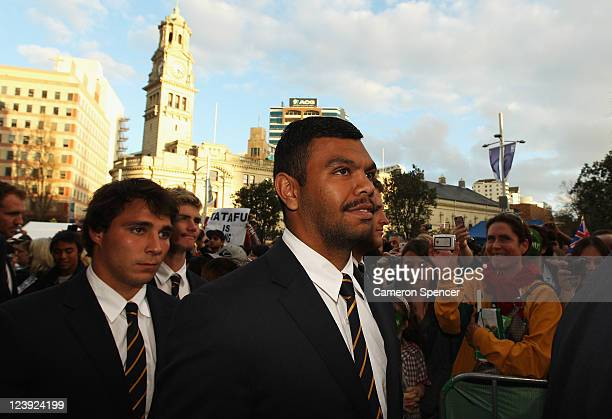 Kurtley Beale and Nick Phipps of the Wallabies attend the Australian Wallabies IRB Rugby World Cup 2011 official team welcome ceremony at Aotea...
