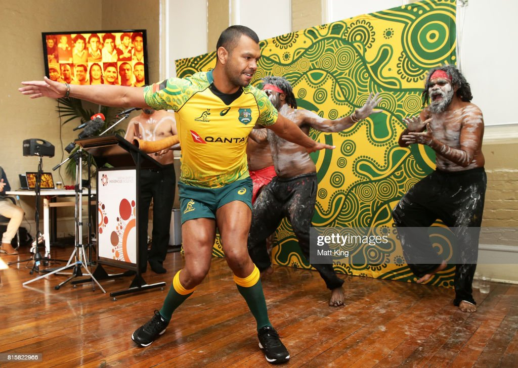 Kurtley Beale dances with Indigenous performers during the Wallabies Indigenous Jersey Launch at the National Centre of Indigenous Excellence on July 17, 2017 in Sydney, Australia.
