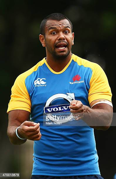 Kurtley Beale is pictured during a Waratahs Super Rugby training session at Moore Park on February 18 2014 in Sydney Australia