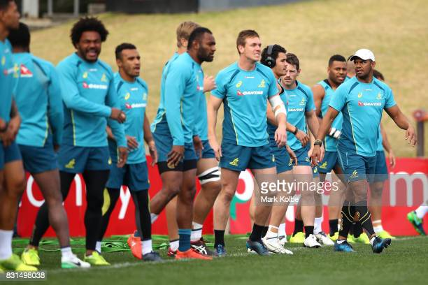 Kurtley Beale looks on as the Wallabies line up for a drill during an Australian Wallabies training session at Pepper Stadium on August 15 2017 in...