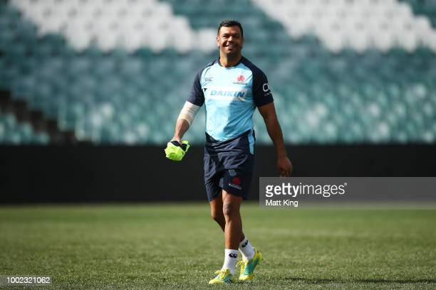 Kurtley Beale looks on during a Waratahs Super Rugby training session at Allianz Stadium on July 20 2018 in Sydney Australia